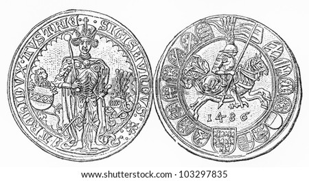 Vintage Sigismund of Tyrol Thaler coin from (1439-1496) period - Picture from Meyers Lexikon book (written in German language) published in 1908 Leipzig - Germany.