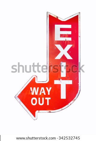 Vintage sign Exit Way out Retro style isolated Signage - stock photo