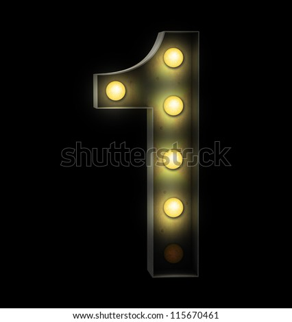 Vintage sign light number one - stock photo