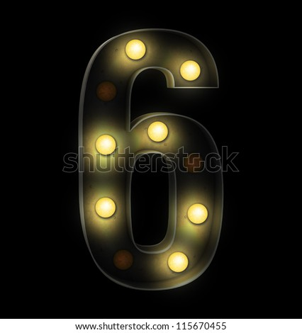 Vintage sign light number six - stock photo