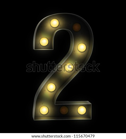 Vintage sign light number two - stock photo