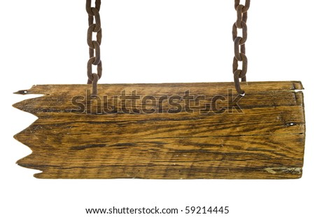 vintage signboard with chain isolated on a white background - stock photo