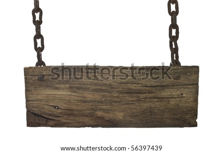 vintage signboard with chains isolated on a white background - stock photo