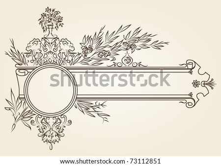 vintage signboard with laurel leaves. roses and lions - stock photo