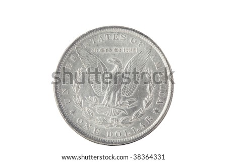 Vintage silver dollar back side isolated on white - stock photo