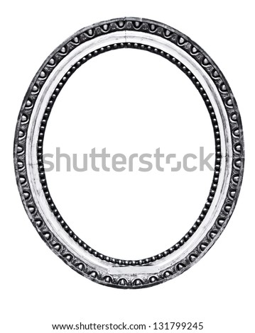 vintage silver frame, isolated on white - stock photo