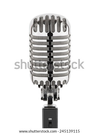 Vintage silver metal microphone isolated on white background