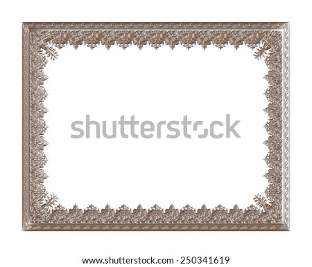 Vintage silver metallic picture frame isolated on white background