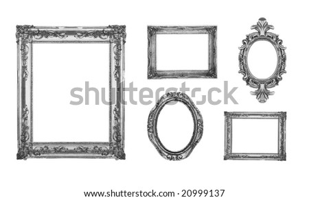 Vintage silver ornate frames, some chipped and rusty, similar available in my portfolio - stock photo