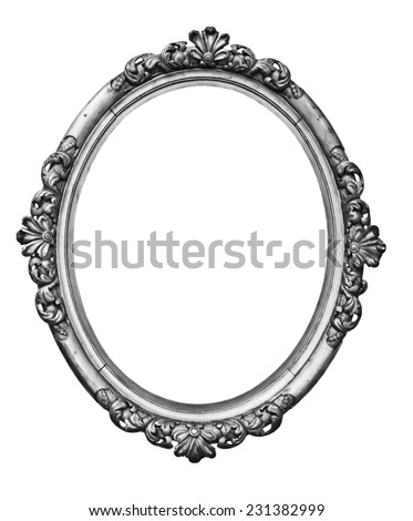 vintage silver oval frame - stock photo