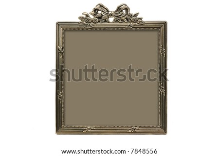 vintage silver photoframe isolated on white background - stock photo