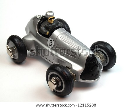 vintage silver toy car - stock photo
