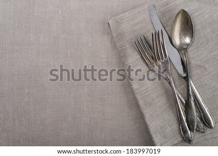 Vintage silverware for country garden party - stock photo