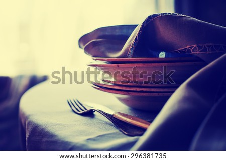 Vintage silverware on rustic background - stock photo