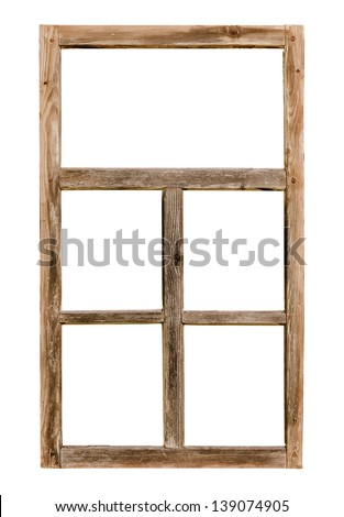 Vintage simple window wooden frame isolated on white background - stock photo