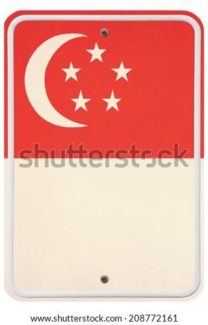 Vintage Singapore metal sign - stock photo