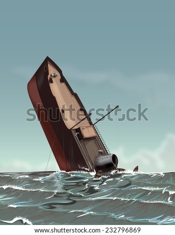Vintage Sinking Ship. A Wartime Ship sinking into the ocean, wooden rescue boats float all around, the ocean is swirling as the vintage style wartime ship sinks. - stock photo