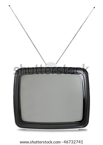 Vintage sixties TV set isolated on white background - stock photo