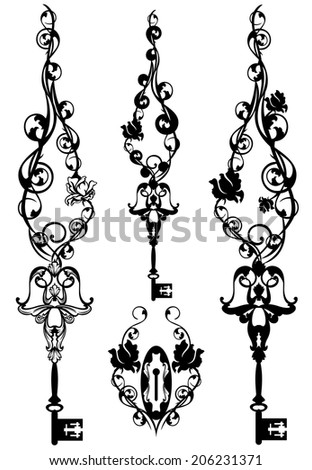 vintage skeleton key pendant and keyhole among rose stems - symbols of secrets and romance - stock photo