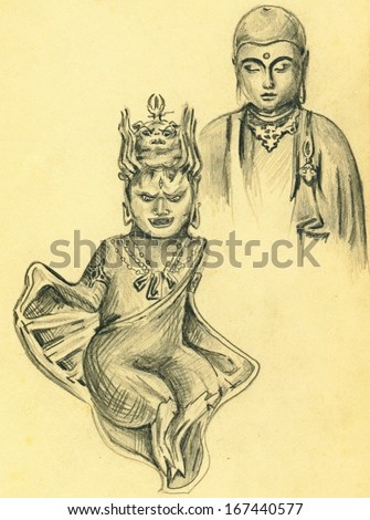 Vintage sketch of hindu gods pencil drawing