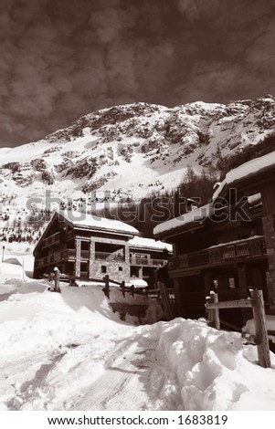 Vintage Ski Chalets - stock photo