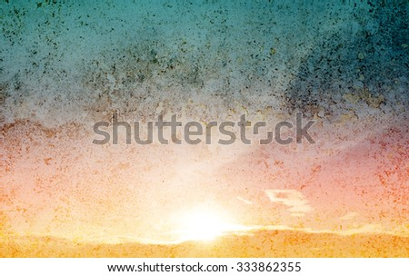 Vintage sky and sun background  - stock photo