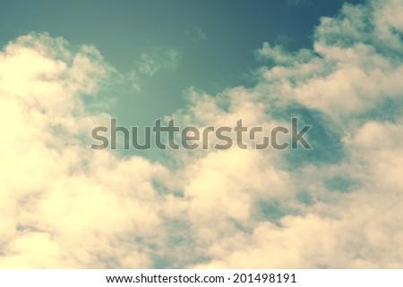 Vintage sky with cloud,sun light - stock photo