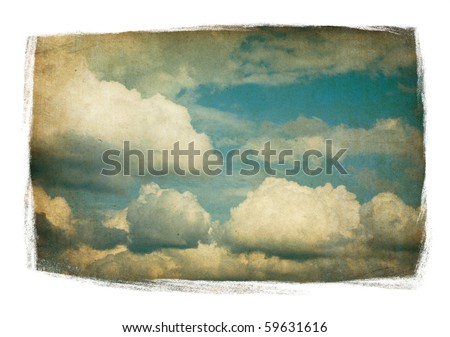 Vintage sky with fluffy clouds isolated in painted frame on white. - stock photo