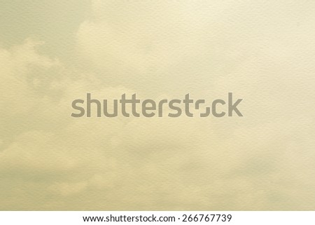 Vintage sky with soft clouds on watercolor paper texture   - stock photo