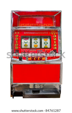 vintage slot machine isolated - stock photo
