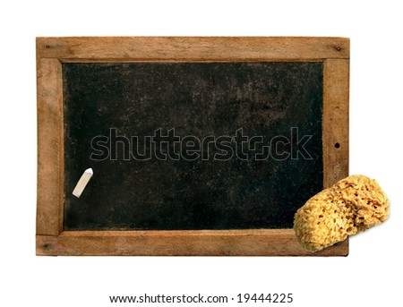 Vintage small blackboard with chalk and sponge, isolated - stock photo