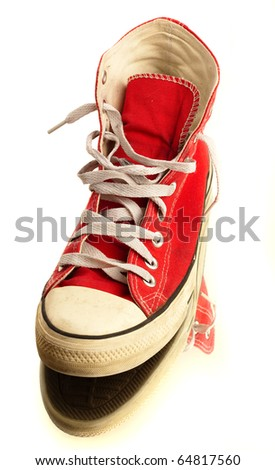 vintage sneakers isolated on a white background - stock photo