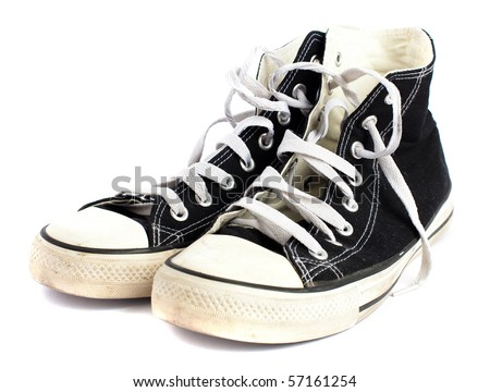 vintage sneakers on white background - stock photo