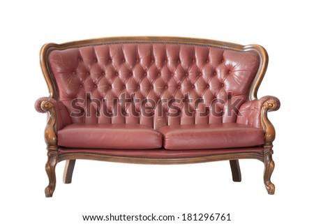 Vintage sofa in an isolated background with clipping part