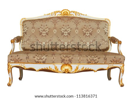 Vintage Sofa isolated on white background - stock photo