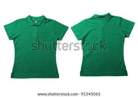 Vintage soft  green Female color Polo Shirt with white background Men Front and back Polo Shirt - stock photo