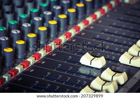 vintage sound mixer control  - stock photo