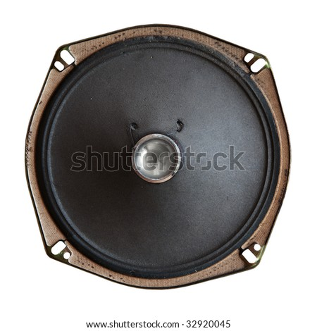 vintage sound speaker isolated on white background with clipping path - stock photo