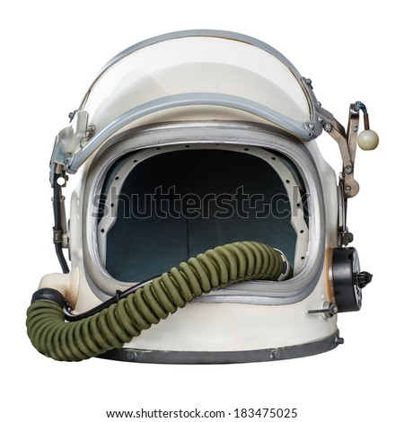 Vintage space helmet isolated against a white background. - stock photo
