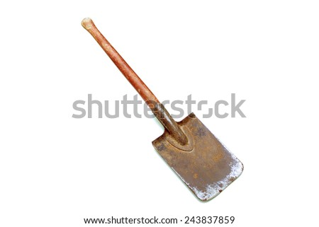 vintage spade with red handle on white background - stock photo