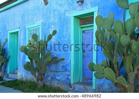 "vintage Spanish adobe building in Tucson's ""Barrio Historico"" - stock photo"