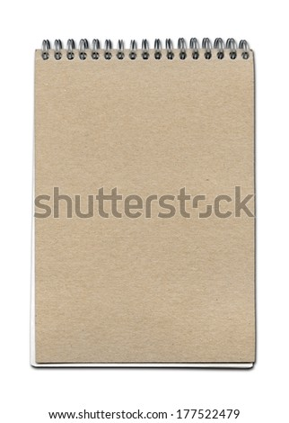 Vintage spiral close notebook, brown paper cover, isolated on white with clipping path - stock photo