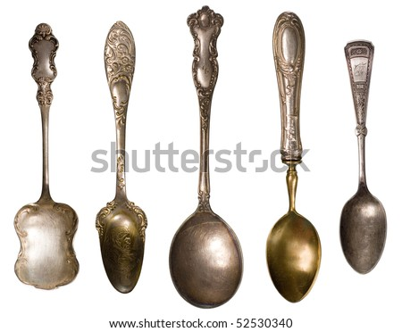 Vintage spoons - stock photo