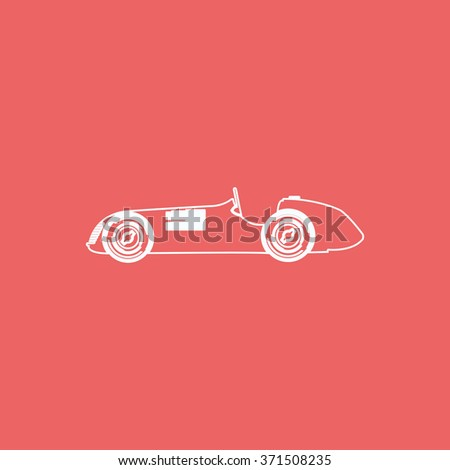 Vintage sport racing car. Flat icon. - stock photo
