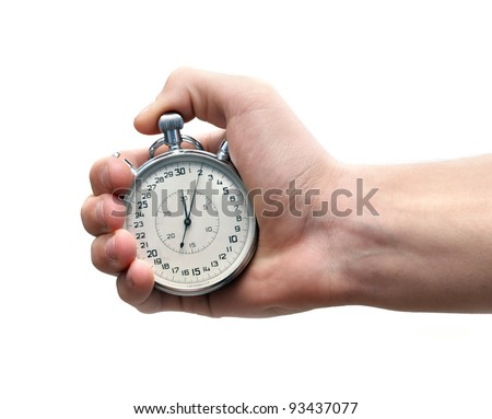 Vintage sport timer stop watch in a man's hand. Isolated on white - stock photo