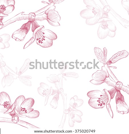 Vintage Spring Cherry Blossom Flower Background - stock photo