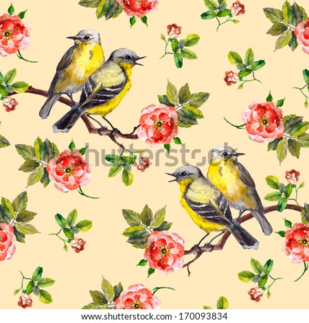 Vintage Spring Fabric Design With Retro Song Birds In Wild Rose Flowers