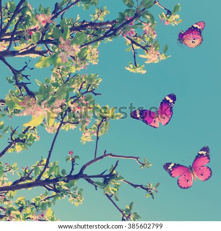 Vintage spring image with blossoming fruit tree and butterflies against blue sky. Springtime nature glitter sparkle