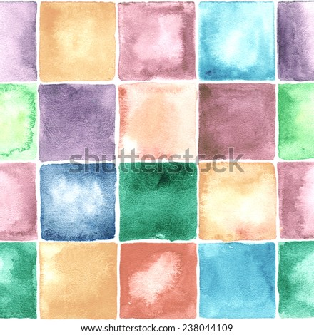 Vintage square watercolor background. - stock photo