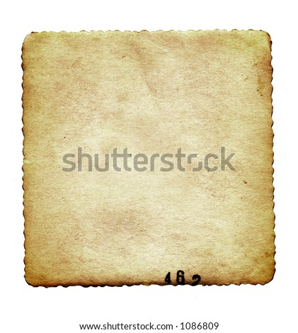 Vintage, stained, textured, scalloped with lab numbers printed at bottom edge. Back of old photo.  White background. - stock photo